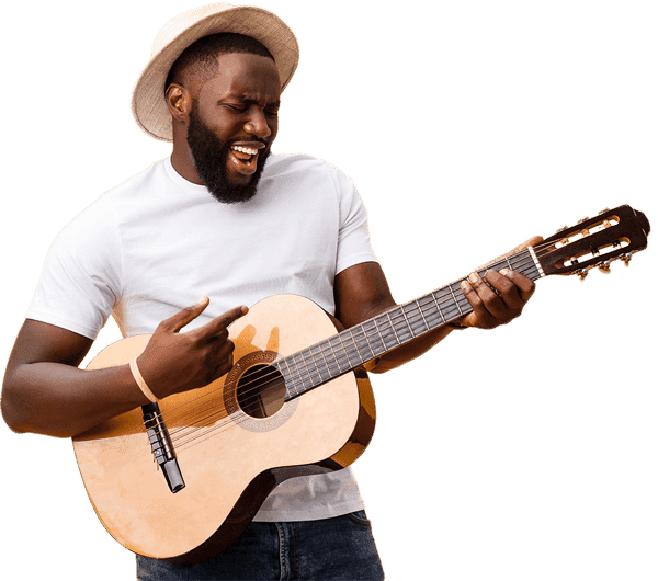 Male enthusiastically playing the guitar