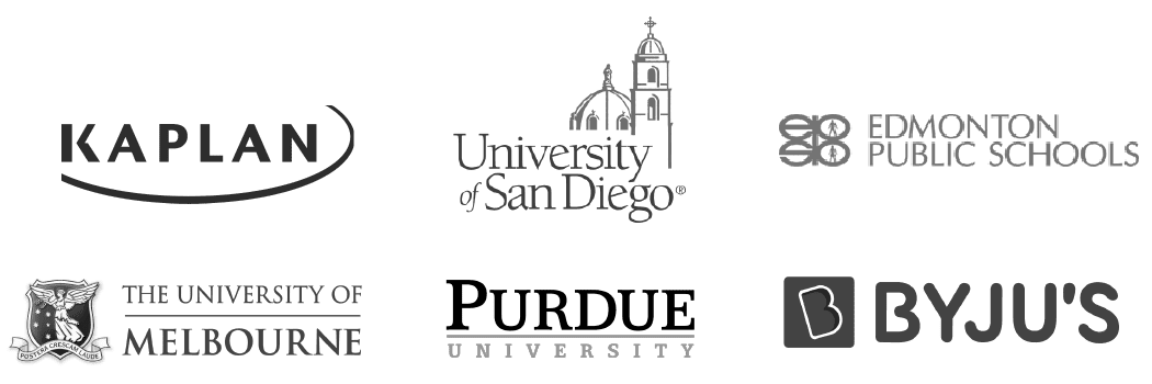 """Purdue University logo""   ""University of Melbourne logo""   ""University of San Diego logo""   ""Edmonton Public Schools logo""   ""BYJU logo""   ""Kaplan logo"""