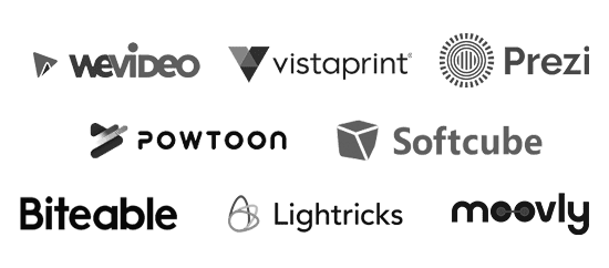 """moovly logo""|""vistaprint logo""|""威龙徽标""|""prezi logo""|""lightricks logo""|""令人痛苦的徽标""|""wevideo logo""|""softcube logo"""